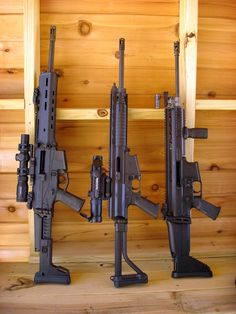 Triple Threat - from left Remington ACR, Robinson Armament XCR, FN SCAR