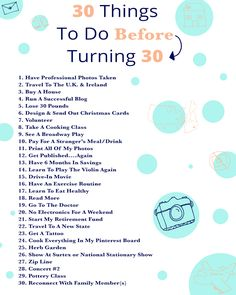 30 Things To Do Before I Turn 30 | East Coast Charm