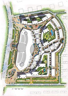 Architecture Site Plan, Landscape Architecture Design, Architecture Drawings, Shopping Mall Architecture, Horse Barn Designs, Garden Mall, Presentation Techniques, Urban Design Plan, Mall Design