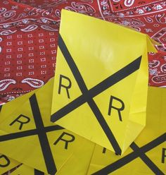 Railroad Sign Train Theme Birthday Party Favor Treat by jettabees, $12.50