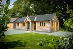 This granny annexe, located near Presteigne in Powys, provides ample living space for two people. Radnor Oak - Home Office - Oak Framed Office - Annex - Oak Garden Room - Oak Framed Building - Oak framed Summer House Oak Framed Buildings, Wooden Buildings, Wooden House Plans, Garden Lodge, Oak Frame House, Bungalow House Plans, Bungalow Ideas, Small Space Interior Design, Garden Office