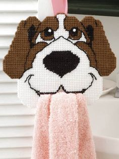 Happy Hound towel holder on plastic canvas - I must make one of these in Precious' colours Plastic Canvas Ornaments, Plastic Canvas Crafts, Free Plastic Canvas Patterns, Dog Pattern, Free Pattern, Cross Stitch Animals, Canvas Designs, Maya, Cross Stitching
