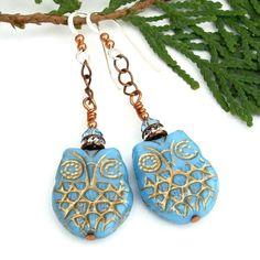 (via Turquoise Blue and Gold Owl Earrings, Czech Glass Swarovski Crystals Handmade Dangle Jewelry)