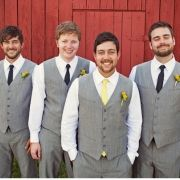 I was thinking the groom with a bowtie but i love the yellow tie instead!