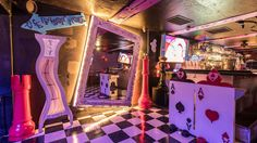 Down The Rabbit Hole at LA's Weirdest, Wildest Bar An Alice in Wonderland-themed Valley destination draws a massive crowd by Farley Elliott Updated May PDT Photography by Wonho Frank Lee Alice In Wonderland Room, Wonderland Party, Winter Wonderland, Mad Hatter Party, Mad Tea Parties, Party Queen, Heart Party, Dive Bar, Through The Looking Glass