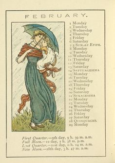 February calendar page by Kate Greenaway (1846-1901). Taken from 'Kate Greenaway's Almanack for 1892.' Image and text courtesy NYPL Digital Gallery.