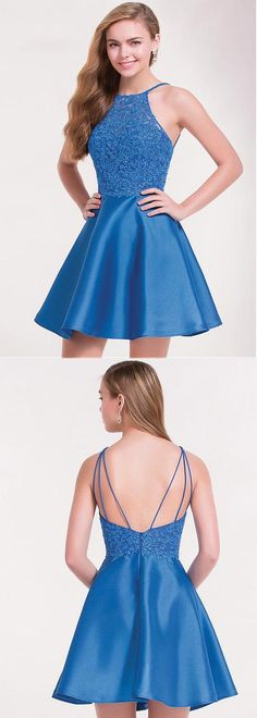 Uhc0107, Exciting, Satin, Halter Neckline, Short, A-line Homecoming Dresses, With Lace, Appliques