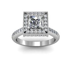 Square halo for princess cut stone - diamonds on every side of the halo  #princesscut #engagement #engagementrings #jewelry #artdeco #weddings  $1813