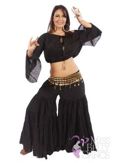 Belly Dance Tribal Cotton Pants, Top & Belt Costume Set | True Tribe
