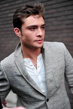 Heather gray sweatshirt-knit blazer paired w/ white henley. Shown here by the one and only Ed Westwick.