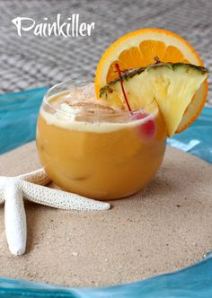 This Painkiller cocktail might sound harsh but it's made with rum, pineapple juice, cream of coconut and fresh nutmeg. Not too painful!