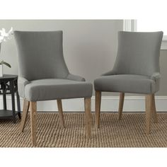 Safavieh 'Becca' Beige Fabric Leather-back Dining Chair - Overstock™ Shopping - Great Deals on Safavieh Dining Chairs