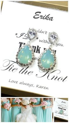 Hey, I found this really awesome Etsy listing at https://www.etsy.com/listing/186714665/mint-bridesmaid-earringsmint-green