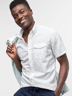 Gap Mens Linen-Cotton Short Sleeve Standard Fit Shirt Optic White