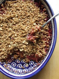 strawbetty rhubarb crisp. I absolutely love rhubarb & this can easily be made gluten-free!