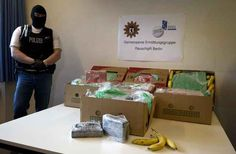 Workers at five grocery stores in Berlin and one in Brandenburg found banana boxes packed with 309 pounds of cocaine on Monday, Jan. 6. The cocaine haul, Berlin's biggest in years, was seized by German police. | Banana Crates Full Of Cocaine Accidentally Delivered To German Supermarkets