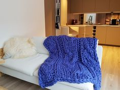 Our chunky blanket in our tiny home