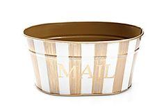 Mail Tub, Brush Stripe Ivory