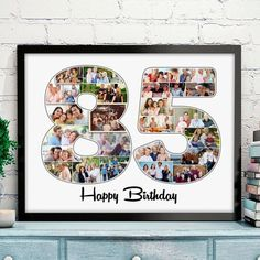 Looking for a birthday gift for the 85 year old man who has everything? Surprise him with this colorful personalized number 85 photo collage! Birthday Gag Gifts, Birthday Book, Birthday Gift Baskets, Birthday Presents For Men, Birthday Gifts For Grandma, 85th Birthday, Birthday Gift For Him, Unique Birthday Gifts, Birthday Photos