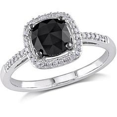 Black Diamond White Gold  Engagement Ring Walmart