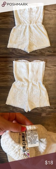 Like New Strapless Lace Romper Worn one time. Bought from Full Tilt. So cute and unique! Mimi Chica Dresses Strapless