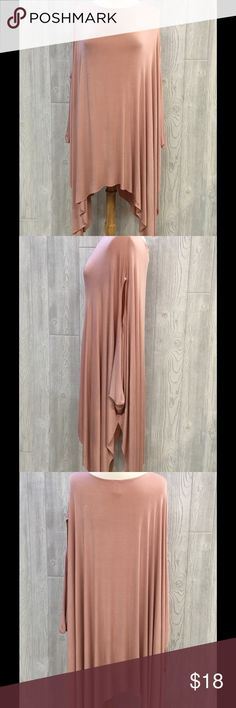 "Soft Poncho Tunic Soft Poncho Tunic, Dusty Rose, Closed Sides w/ Arm Opening, Rayon/ Spandex, From Shoulder to Bottom Hem Measures 35"" (sides longer), Flowy, Non Form Fitting, Great w/ Leggings or Skinny Jeans, Can be Worn Off Shoulder, New, Unworn Sweaters Shrugs & Ponchos"