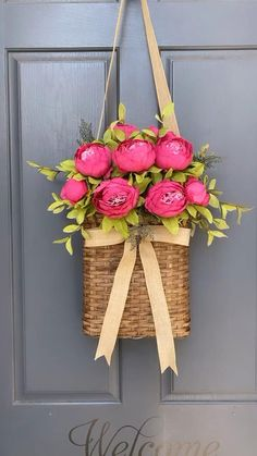 Gorgeous pink blooms paired with greenery create a stunning welcome for your front door. Welcome Signs Front Door, Front Door Decor, Wreaths For Front Door, Door Wreaths, Decoracion Low Cost, Bedroom Decor For Couples, Diy Wreath, Porch Decorating, Christmas Wreaths