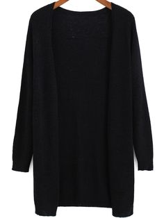 Black Long Sleeve Loose Knit Cardigan -SheIn(Sheinside)