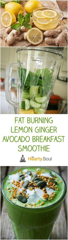 Fat Burning Lemon Ginger Avocado Breakfast Smoothie
