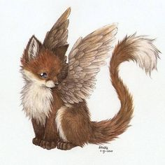 Fox with wings (not really a kitsune, but too cute)