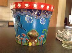 Painted pot; Mushrooms