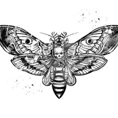 'Death's head, Moth poster' by erzebetth Emo Tattoos, Creepy Tattoos, Knuckle Tattoos, Black Ink Tattoos, Skull Tattoos, Hand Tattoos, Sleeve Tattoos, Tattoos For Guys, Moth Tattoo