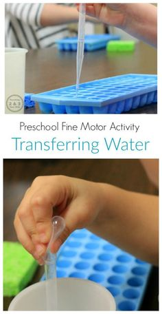 Preschool Fine Motor Activity Transferring Water - Teaching 2 and 3 Year Olds The Effective Pictures We Offer You About Montessori Activities practical life A quality picture can tell you many things. Preschool Fine Motor Skills, Motor Skills Activities, Gross Motor Skills, Fine Motor Activities For Kids, Toddler Learning, Preschool Learning, Toddler Activities, 3 Year Old Montessori Activities, Preschool Centers