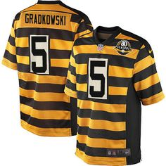 Bruce Gradkowski Men's Elite Gold/Black 80th Anniversary Jersey: Nike NFL Pittsburgh Steelers Alternate #5 Throwback
