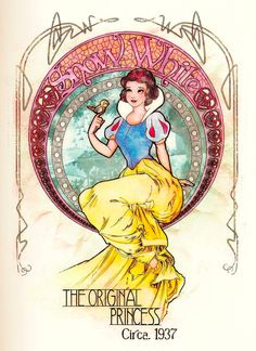 Snow White: The Original Princess in Mucha style.  I have this in a t-shirt and a glass window charm!  :D