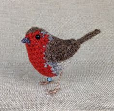 Christmas robin crochet bird sculpture by FreshlyKnittedThings