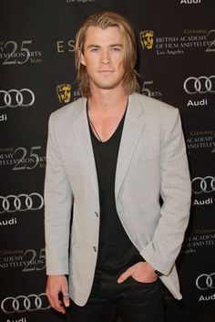 Chris Hemsworth...okay long hair was never a brownie point, but on this guy....i could get used to it..lol
