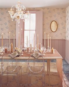 Love the ghost chairs for dining room.