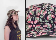 She's My Cherry Pie!  CHERRY Print Hat Black With Fruit Pattern 1990s Baseball Style Cap by JeezumCrowVintage on Etsy