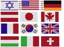 World Heritage Flag Set #1   What is your heritage? You can combine several flags into a single project to proudly display your heritage. As shown in the top row, you can make a bracelet, or any number of projects.  In this set, you get 12 flags from these countries:  Israel, US, Germany, Austria, Japan, Canada, France, Republic of Korea, United Kingdom, Italy, Hungary and Switzerland.