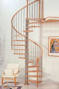 Spiral staircase (metal frame and wooden steps)
