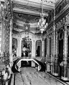 The ornate Grand Lobby and staircase inside the Uptown Theater, Chicago. Theater Chicago, Chicago Area, Chicago Illinois, Theatre, Architecture Images, Historical Architecture, Architecture Details, Abandoned Houses, Abandoned Places