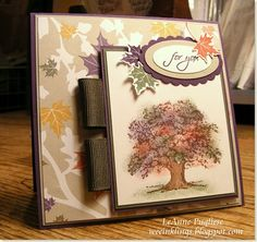 """By LeAnne Pugliese. Uses stamp from Stampin' Up's """"Lovely as a Tree"""" stamp set. Tree stamped in brown; leaves on tree sponged with daubers."""