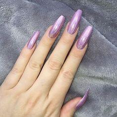 Doobys Nails - Holograohic Pink Extra Long Coffin - 24 Glue on falseNails