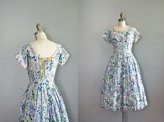 1950s dress / 50s dress / Pen and Ink Drawing. $124.00, via Etsy.