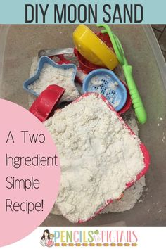 This 2 ingredient super simple moon dough / moon sand recipe will definitely be a hit with your kids! Today I'm showing you how to make it using flour and baby oil to create a fun mixture that can best be described as a fun cross between play dough and sand! #moonsand #toddlers #toddleractivities