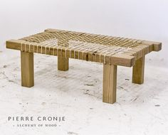 A Pierre Cronje Riempie Coffee Table in French Oak Africa Craft, French Villa, African Furniture, Outdoor Furniture, Furniture Ideas, Outdoor Decor, African Home Decor, French Oak, Natural Living