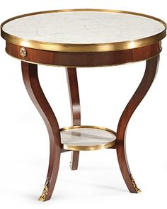 Round wood table with white Carrera marble top and shelf. Occasional table has medium walnut finish and antiqued brass trim. This table is hand-crafted in Italy Eclectic Furniture, Table Furniture, Luxury Furniture, Antique Furniture, Painted Furniture, Furniture Ideas, Furniture Design, Unique Coffee Table, Coffe Table