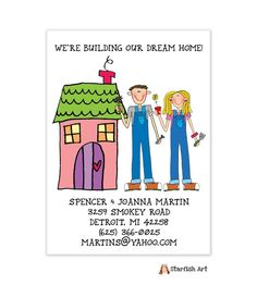 Starfish Art Vertical Pink House Moving Card