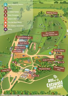 Map of the Park - Cotswold Farm Park Hand Washing Station, Farm Plans, Tourist Map, Uk Trip, Planning Your Day, Parking Design, Interactive Map, Map Design, Farm House
